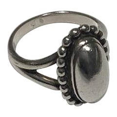 Georg Jensen Sterling Silver Ring No 9 with Silver Stone, Ring