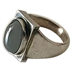 Georg Jensen Sterling Silver Ring with Hematite No 84