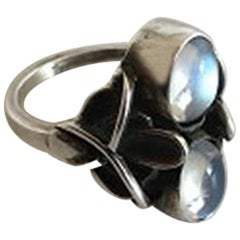 Georg Jensen Sterling Silver Ring with Moonstones No 48