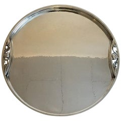 Georg Jensen Sterling Silver Round Serving Tray with Handles No 483