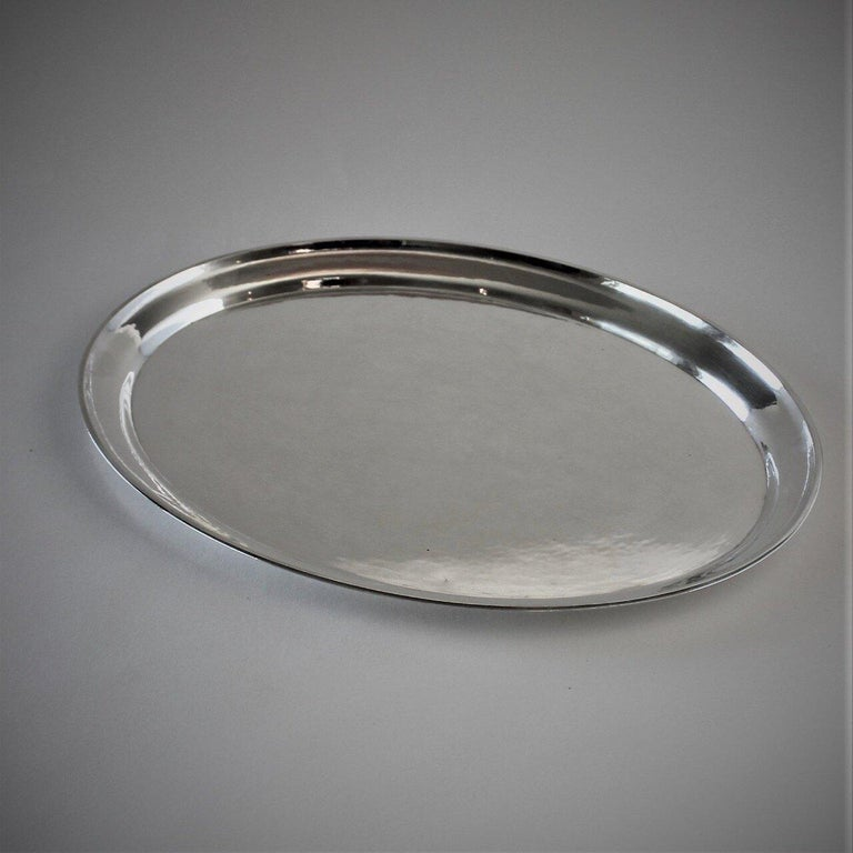 Danish Georg Jensen Sterling Silver Small Hammered Oval Tray, No.223C