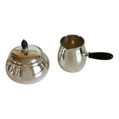 Georg Jensen Sterling Silver Sugar Bowl and Creamer with Ebony Handles No 80C