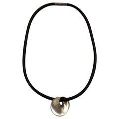 Georg Jensen Sterling Silver Torun Pendant with Rubber Collar No 374