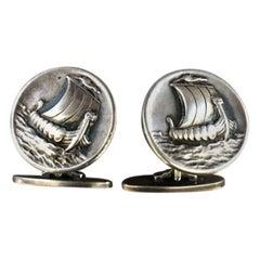 "Georg Jensen Sterling Silver ""Viking Ship"" Cufflinks No. 50 by Harald Nielsen"
