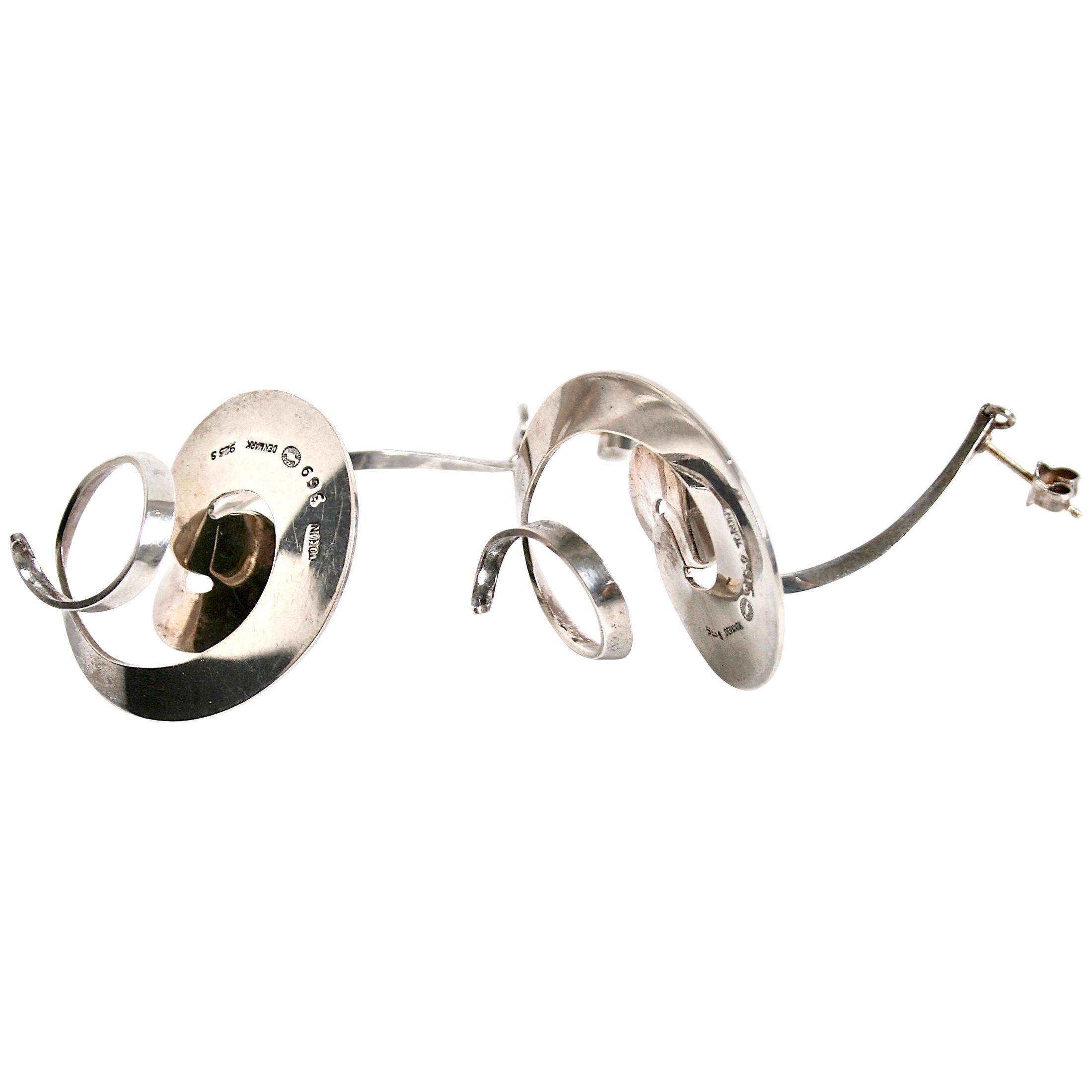 Georg Jensen Swirl Earrings Designed by Vivianna Torun Bulow-Hübe, Denmark