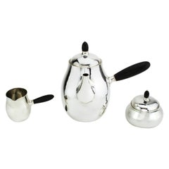 Georg Jensen Three-Piece Tea Service Set, Denmark, circa Mid-20th Century, 1950s