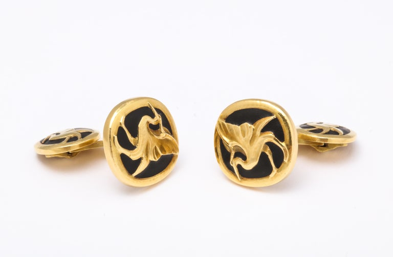 Georg Jensen Vintage Black Matte Enamel Yellow Gold Cufflinks In Good Condition For Sale In New York, NY