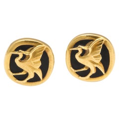 Georg Jensen Vintage Black Matte Enamel Yellow Gold Cufflinks