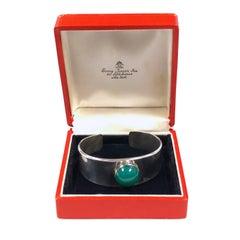 Georg Jensen Vintage Paul Hansan Denmark Sterling and Gem Set Cuff Bracelet