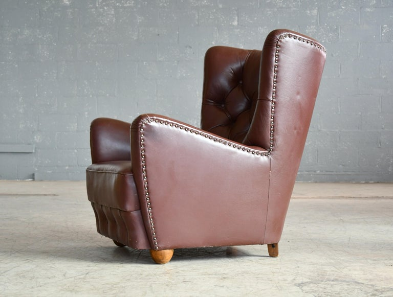 Georg Kofoed Attributed Danish 1940s Lounge Chair in Tufted Brown Leather For Sale 5