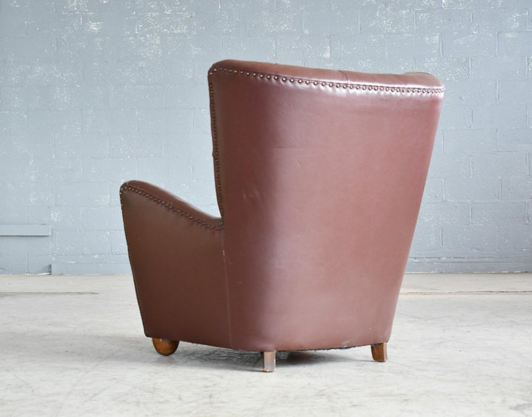 Georg Kofoed Attributed Danish 1940s Lounge Chair in Tufted Brown Leather For Sale 7
