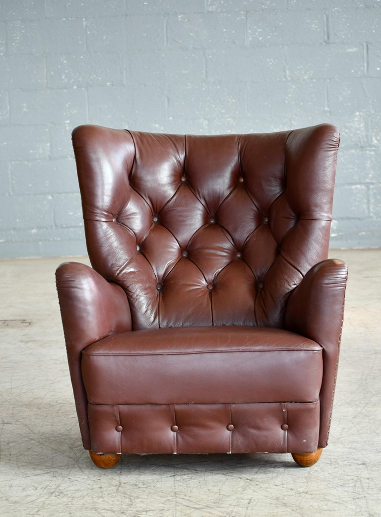 Mid-Century Modern Georg Kofoed Attributed Danish 1940s Lounge Chair in Tufted Brown Leather For Sale