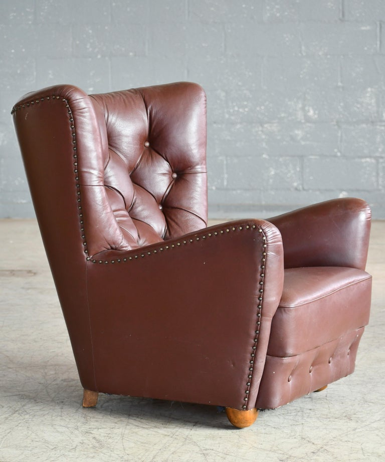 Georg Kofoed Attributed Danish 1940s Lounge Chair in Tufted Brown Leather For Sale 1