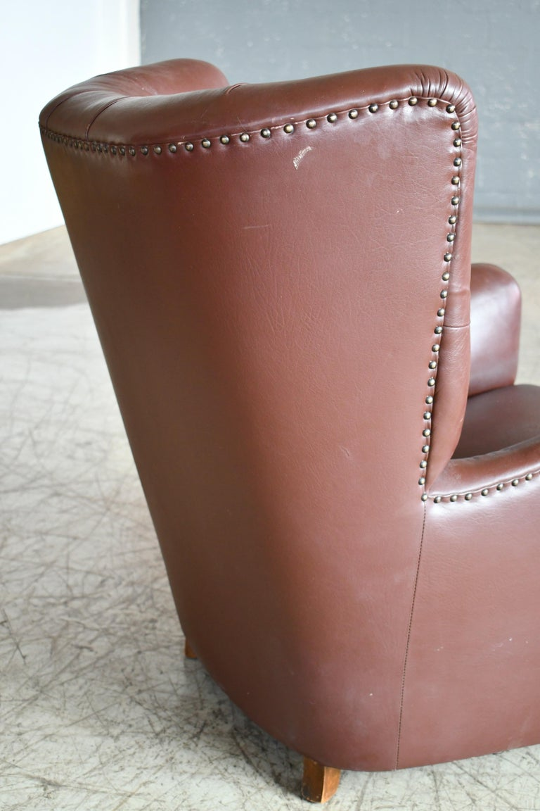 Georg Kofoed Attributed Danish 1940s Lounge Chair in Tufted Brown Leather For Sale 4