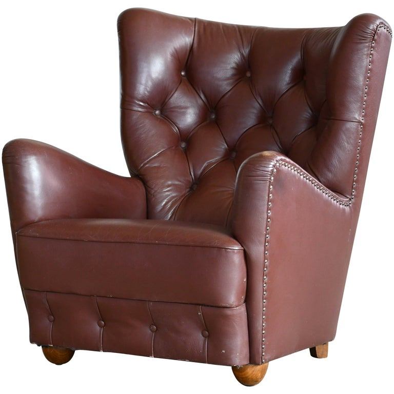 Georg Kofoed Attributed Danish 1940s Lounge Chair in Tufted Brown Leather For Sale