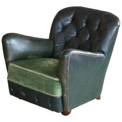 Georg Kofoed Attributed Danish 1940s Lounge Chair in Tufted Dark Green Leather