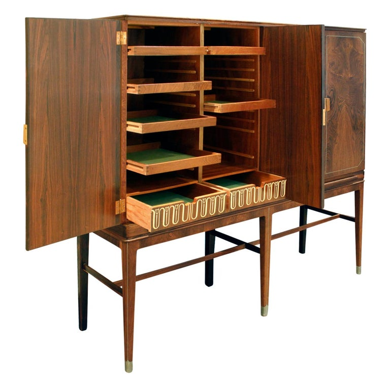 Georg Kofoed Cabinet in Brazilian Rosewood with Inlays, 1930s 'Signed' In Excellent Condition In New York, NY
