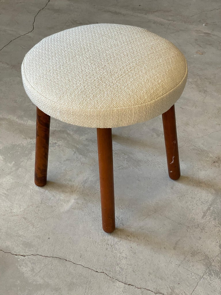 Mid-20th Century Georg Kofoed, Modernist Stool, Stained Wood, White Fabric, Denmark, 1940s For Sale