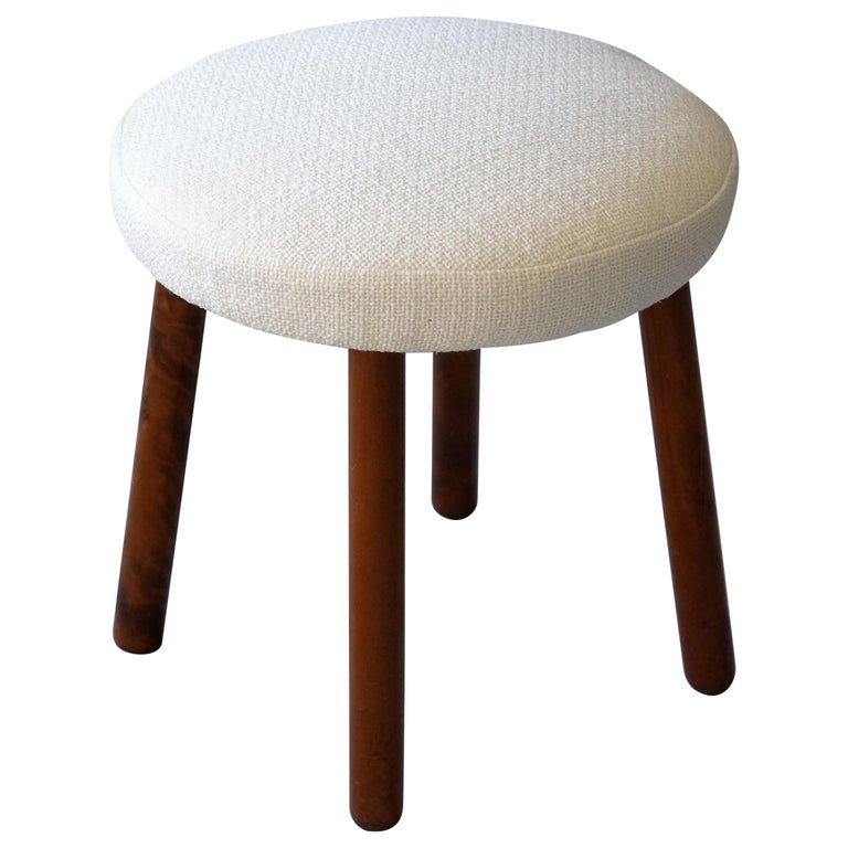 Georg Kofoed, Modernist Stool, Stained Wood, White Fabric, Denmark, 1940s For Sale