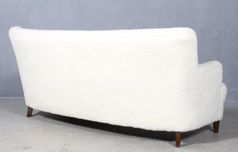 Georg Kofoed Three-Seat Sofa in Lambwool, 1940s For Sale 3