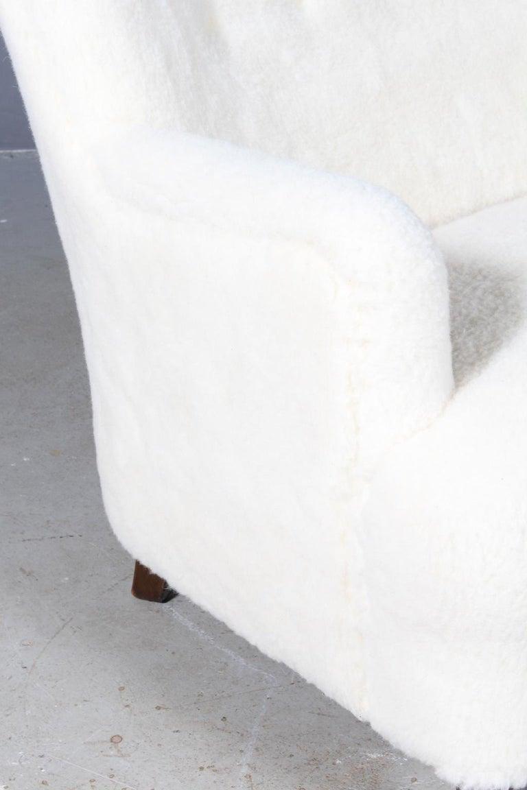 Danish Georg Kofoed Three-Seat Sofa in Lambwool, 1940s For Sale