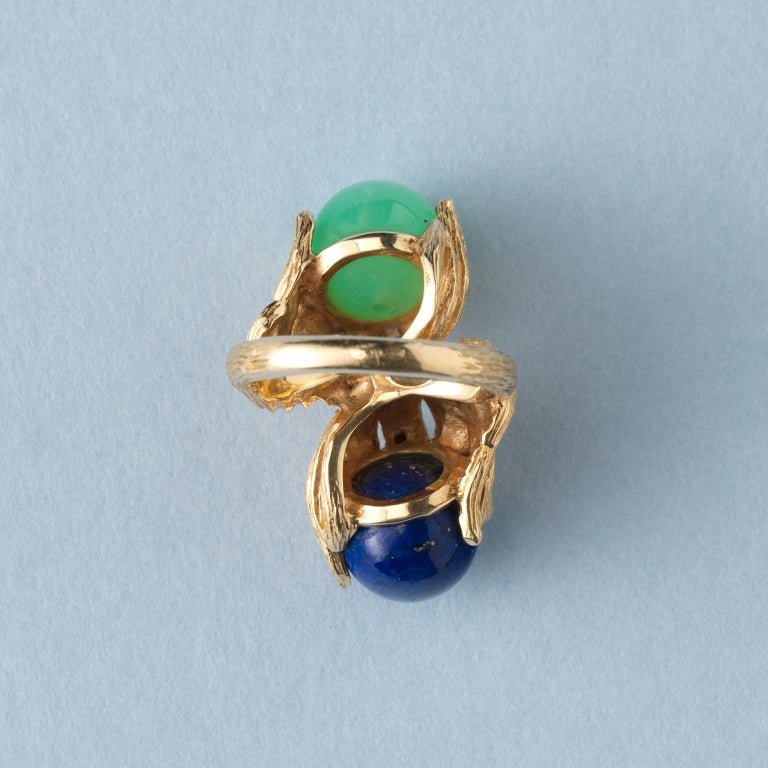 Ball Cut Georg Lauer 18 Carat Gold, Lapis and Calcedony 'Toi et Moi' Ring