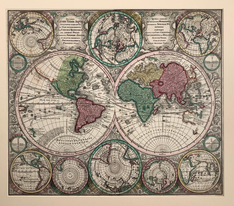 "Georg Matthaus Seutter Print - World Map entitled ""Diversi Globi Terr-Aquei Statione Variante"" by Seutter"