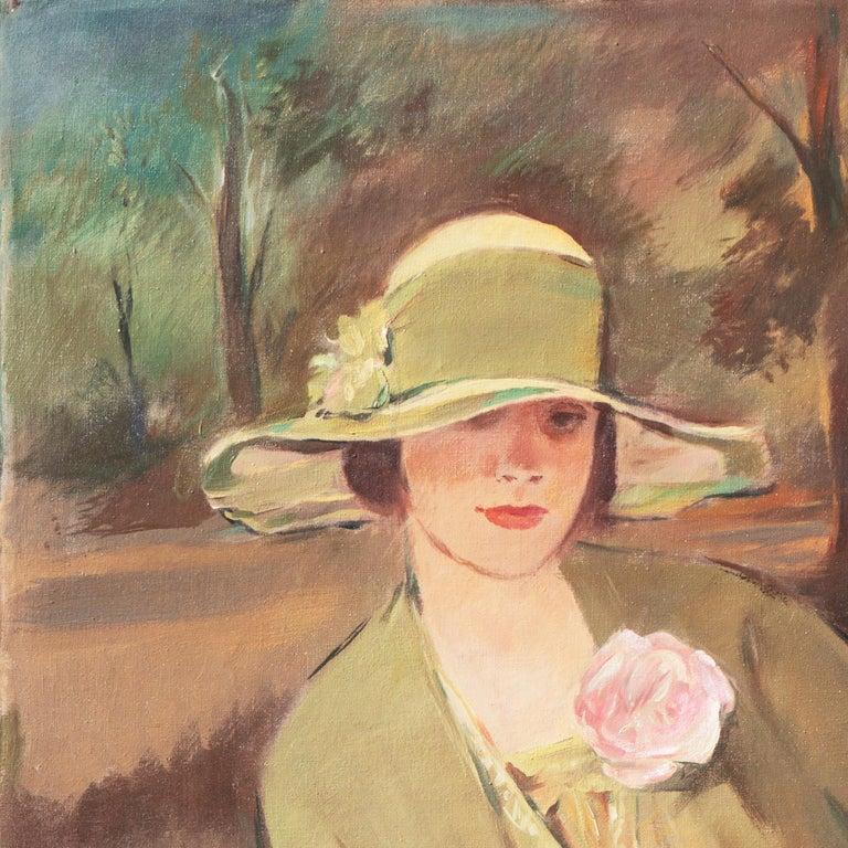 'Portrait of the Fashion Designer, Lieselotte Friedländer', Weimar Republic Oil - Post-Impressionist Painting by Georg Rössner
