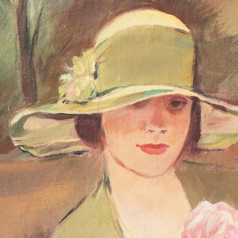 'Portrait of the Fashion Designer, Lieselotte Friedländer', Weimar Republic Oil - Brown Portrait Painting by Georg Rössner