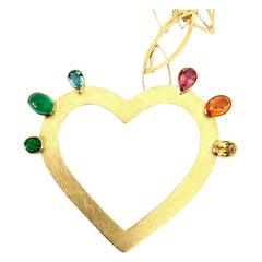 Georg Spreng, Flaming Heart necklace 18 Karat Gold Tourmaline Aquamarine Emerald