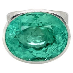 "Georg Spreng, ""Solo Ring"" Platinum 950 with Oval Green Emerald"