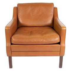 Georg Teams Vintage Lounge Chair Cognac Leather, Denmark, 1960s