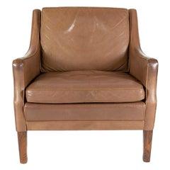 Georg Teams Vintage Lounge Chair Tabak Leather, Denmark, 1960s