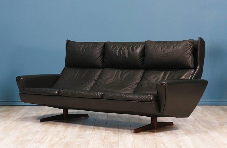 Georg Thams Leather And Rosewood Wingback Sofa For Vejen