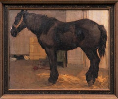"""Horse Painting """"Standing Horse in the Stable"""" Georg Wolf circa 1910"""