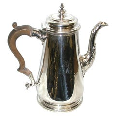 George 11 Silver Coffee Pot, Dated 1738, Maker Thomas Farren, London Assay