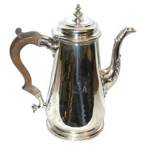 George 11 Silver Coffee Pot, Dated 1738, Maker Thomas Farren, London Assay