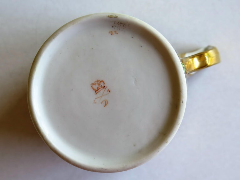 George 111 Derby Porcelain Coffee Can with Rare Ear Handle Hand-Painted For Sale 8