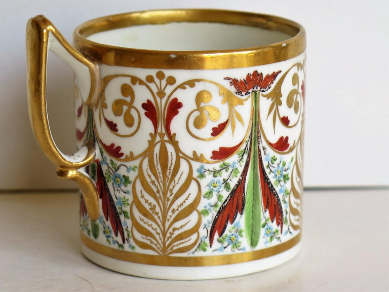 19th Century George 111 Derby Porcelain Coffee Can with Rare Ear Handle Hand-Painted For Sale