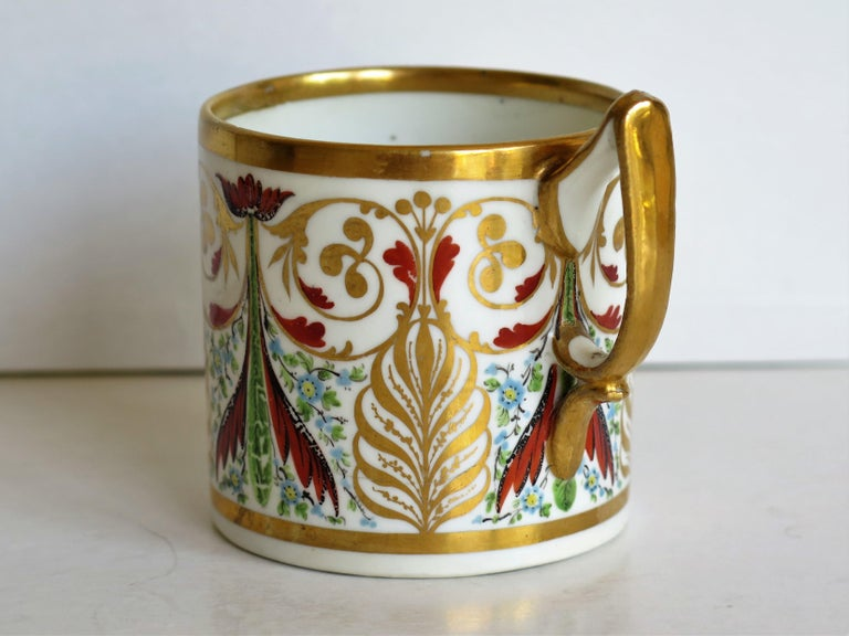 George 111 Derby Porcelain Coffee Can with Rare Ear Handle Hand-Painted For Sale 1