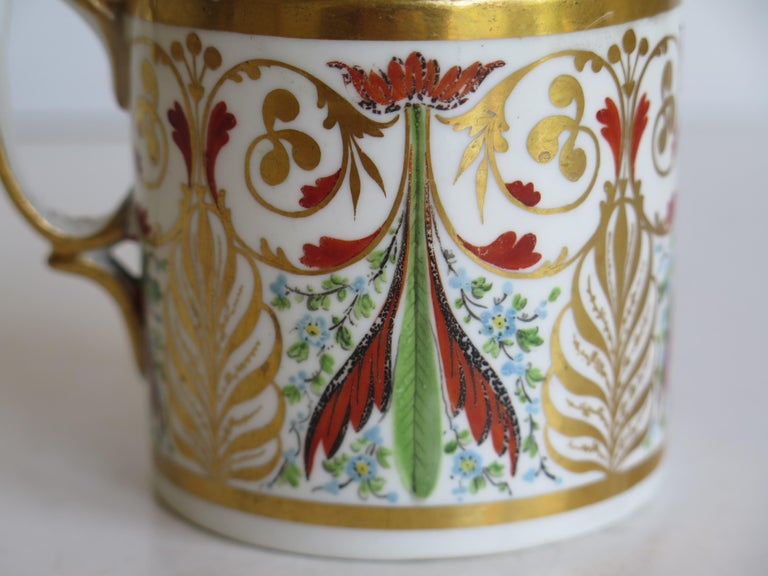 George 111 Derby Porcelain Coffee Can with Rare Ear Handle Hand-Painted For Sale 2