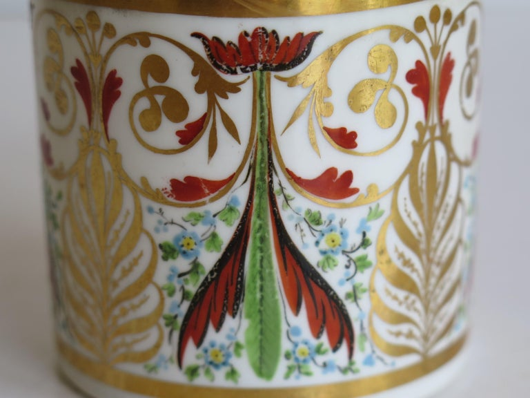 George 111 Derby Porcelain Coffee Can with Rare Ear Handle Hand-Painted For Sale 3