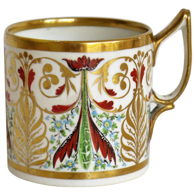 George 111 Derby Porcelain Coffee Can with Rare Ear Handle Hand-Painted For Sale