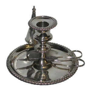 George 111 Silver Chamberstick with Wick Trimmers and Extinguising Cone, 1812