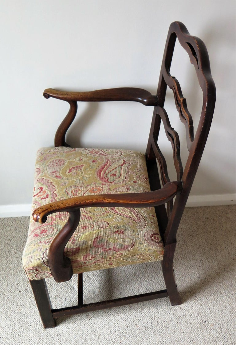 George II Country Armchair Elm with Ribbon Back and Crook Arm English circa 1750 For Sale 5