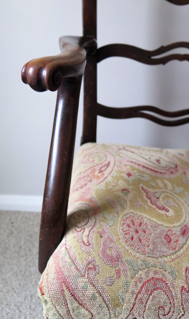 George II Country Armchair Elm with Ribbon Back and Crook Arm English circa 1750 For Sale 6