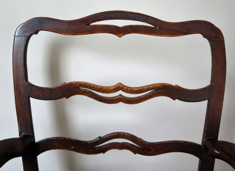George II Country Armchair Elm with Ribbon Back and Crook Arm English circa 1750 For Sale 8