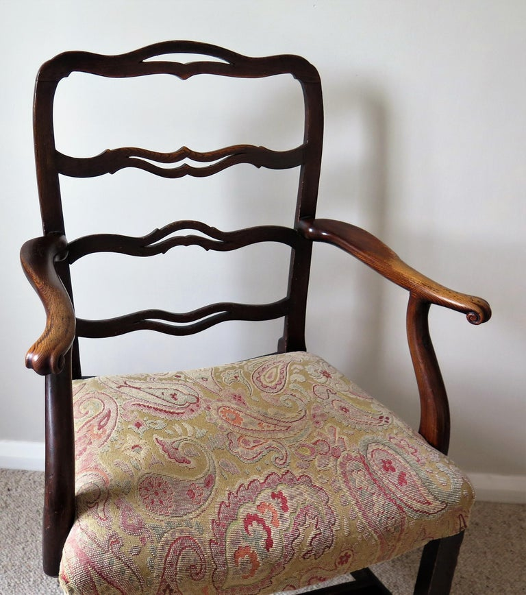 Hand-Crafted George II Country Armchair Elm with Ribbon Back and Crook Arm English circa 1750 For Sale