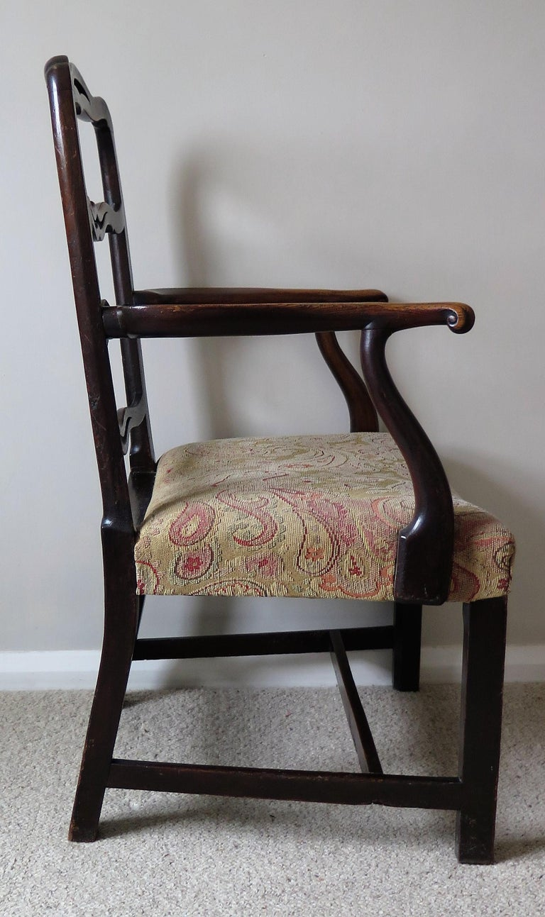 George II Country Armchair Elm with Ribbon Back and Crook Arm English circa 1750 For Sale 1