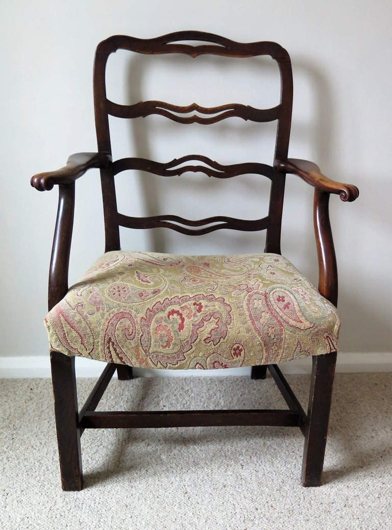 George II Country Armchair Elm with Ribbon Back and Crook Arm English circa 1750 For Sale 2